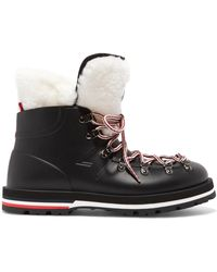 Moncler - Inaya Shearling-trimmed Rubber Ankle Boots - Lyst
