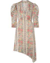 Anna Sui - Whisper Rose Floral-print Asymmetric Satin Dress - Lyst