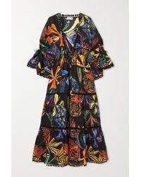 Charo Ruiz Leonora Guipure Lace-trimmed Printed Cotton-blend Voile Kaftan - Black