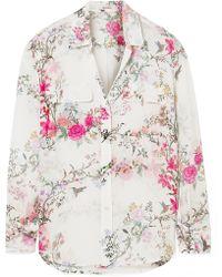 Equipment - + Tabitha Simmons Slim Signature Printed Washed-silk Shirt - Lyst