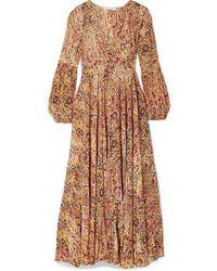 Mes Demoiselles Passiflore Paisley-print Crepe De Chine Maxi Dress - Multicolour