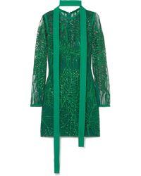 Elie Saab - Embellished Tulle Mini Dress - Lyst