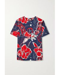 By Malene Birger Acome Floral-print Cotton-blend Twill Top - Blue