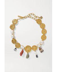 Oscar de la Renta Gold-tone, Quartz And Pearl Necklace - Metallic