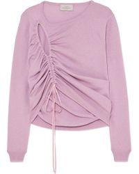 Preen By Thornton Bregazzi Hyasinth Ruched Merino Wool-blend Jumper - Purple