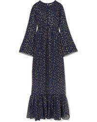 MICHAEL Michael Kors - Lattice-trimmed Printed Georgette Maxi Dress - Lyst