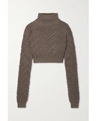 Fendi Cropped Wool Turtleneck Jumper - Green