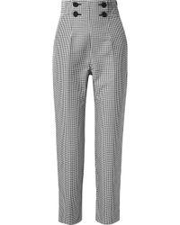 Sara Battaglia - Button-embellished Gingham Cotton-blend Straight-leg Pants - Lyst