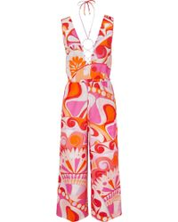 Emilio Pucci | Nigeria Embellished Printed Cotton And Silk-blend Jumpsuit | Lyst