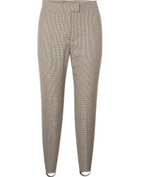 Burberry - Checked Wool-blend Slim-leg Stirrup Trousers - Lyst