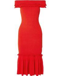 Jonathan Simkhai - Off-the-shoulder Ruffled Ribbed-knit Midi Dress - Lyst