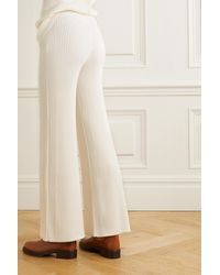 Chloé Ribbed Wool-blend Flared Trousers - White