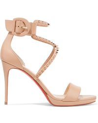 Christian Louboutin - Choca Lux 100 Studded Leather Sandals - Lyst