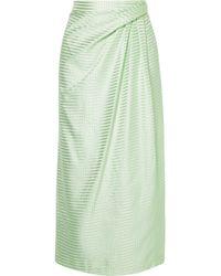 Carolina Herrera - Gathered Gingham Silk-satin Jacquard Midi Skirt - Lyst