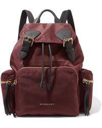 Burberry - Leather-trimmed Gabardine Backpack - Lyst
