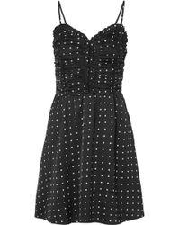 Maje - Ruched Polka-dot Satin Mini Dress - Lyst