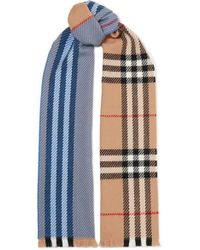 Burberry Checked Wool Scarf - Blue