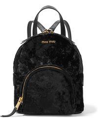 Miu Miu - Leather-trimmed Velvet Backpack - Lyst