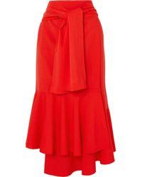 ADEAM - Asymmetric Wool-blend Midi Skirt - Lyst