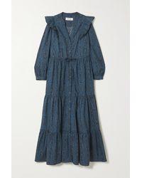 Cefinn Robe Midi En Popeline De Coton Biologique Imprimée À Volants Dixie - Bleu