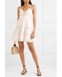 Zimmermann Honour Tiered Lace-trimmed Swiss-dot Cotton-voile Mini Dress - White