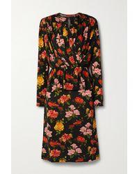 Commission Draped Floral-print Stretch-jersey Midi Dress - Black