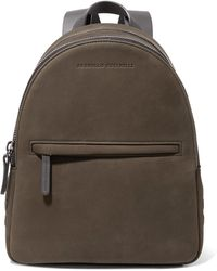 Brunello Cucinelli - Leather-trimmed Studded Suede Backpack - Lyst