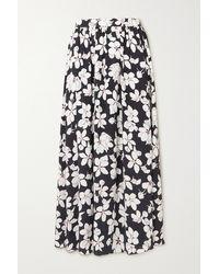 Carolina Herrera Gathered Floral-print Silk-twill Skirt - Black