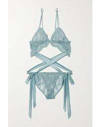 Coco De Mer Viola Cutout Embroidered Tulle Bodysuit - Blue