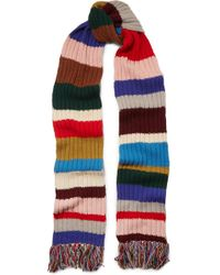 Burberry - Fringed Striped Ribbed Wool Scarf - Lyst