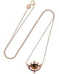 Lito - Tu Es Partout 14-karat Rose Gold, Enamel And Diamond Necklace - Lyst