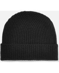 Johnstons + Net Sustain Ribbed Cashmere Beanie - Black