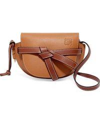 Loewe Gate Mini Textured-leather Shoulder Bag - Brown