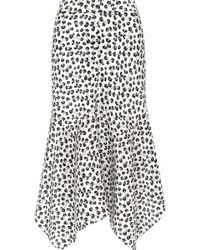 Ganni - Dufort Asymmetric Printed Silk-satin Midi Skirt - Lyst