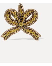 Gucci Gold-tone Crystal Brooch - Metallic