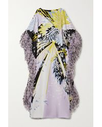Ralph & Russo Sequin-embellished Feather-trimmed Printed Silk-satin Gown - Purple
