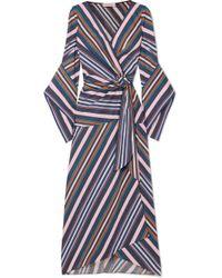 Peter Pilotto - Striped Cotton-poplin Wrap Midi Dress - Lyst