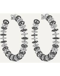 Ofira Halo 18-karat Blackened White Gold Diamond Hoop Earrings - Metallic