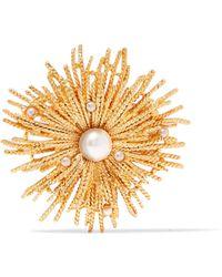 Oscar de la Renta - Gold-tone Faux Pearl Brooch - Lyst
