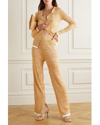 Christopher Esber Button-embellished Mélange Ribbed-knit Straight-leg Trousers - Multicolour