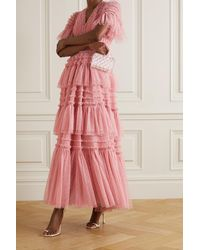 Needle & Thread Clarabelle Ruffled Tiered Point D'esprit Gown - Pink