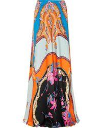 Etro - Floral-print Satin Maxi Skirt - Lyst