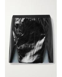 Rick Owens Frayed Coated Cotton-blend Mini Skirt - Black