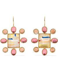 Larkspur & Hawk - Cora Cushion 14-karat Gold Quartz Earrings - Lyst