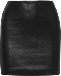 The Row Loattan Stretch-leather Mini Skirt - Black