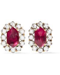 Amrapali | 18-karat Gold, Silver, Ruby And Diamond Earrings | Lyst
