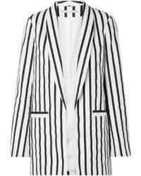Alice + Olivia - Kylie Striped Cotton-blend Twill Blazer - Lyst
