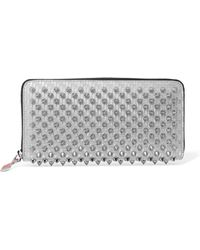Christian Louboutin - Panettone Spiked Glittered Metallic Leather Continental Wallet - Lyst