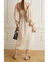 Sleeper Atlanta Off-the-shoulder Shirred Linen Midi Dress - Natural