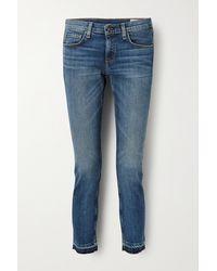 Rag & Bone Dre Capri Cropped Distressed Mid-rise Slim-leg Jeans - Blue